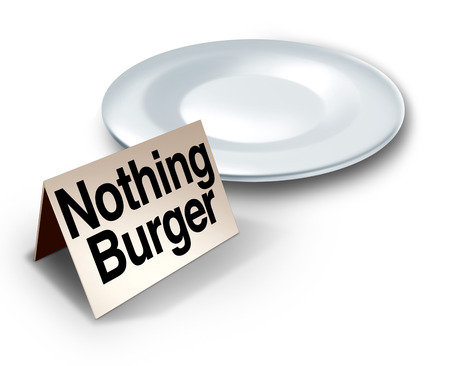 hoax: Nothing burger or nothingburger phrase concept as an empty plate with text on a label representing fake news investigation or insignificant media information that lacks substance or guilt as a political hoax 3D illustration. Stock Photo
