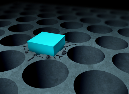 Adversity strategy concept making it work business idea as a square peg forced into a round hole as a success and determination metaphor as a 3D illustration.