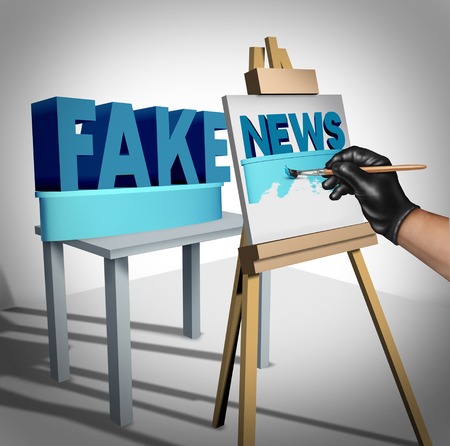 spoof: Fake news media concept and hoax journalistic reporting as a dishonest person painting false information on a public canvas as truth as a metaphor and deceptive disinformation creation with 3D illustration elements.