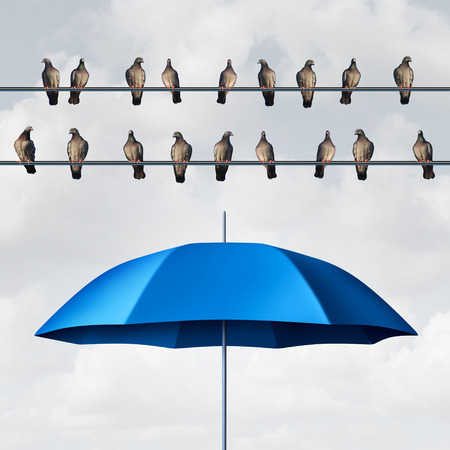 Prepared for the inevitable and ready for anticipated trouble as a group of birds on wires with an open umbrella anticipating and planning for eventual certainty with 3D illustration elements. Stock Photo