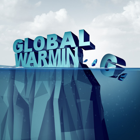 Global warming and arctic ice melting of the polar caps concept as an environmental weather change disaster as an iceberg or glacier shaped as text breaking off and melting as a 3D illustration. Stock Photo