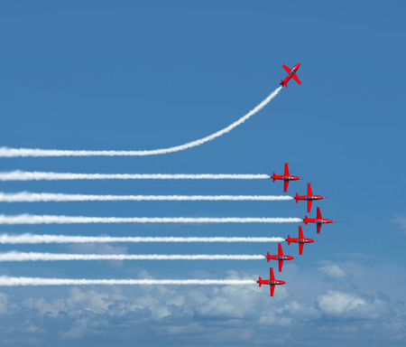 Charting a different path business concept as an independent free thinker idea with air show jet airplanes in an organized formation with one individual plane setting a new course with 3D illustration elements.