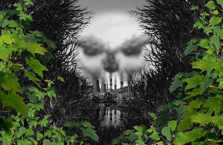 contamination: Pollution poison danger concept as an industrial scene discovered through a surreal forest shaped as a death skull made of toxic smoke with 3D illustration elements.