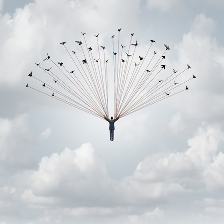 Business career help concept and support system symbol as a group of birds lifting up a businessman as a financial or corporate metaphor for faith or development assistance in a 3D illustration style.