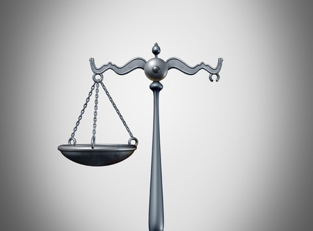 Broken law legal problem and justice system trouble concept as a scale of justice missing a piece as a metaphor for laws or regulation problems and political legislation partisanship as a 3D illustration. Stock Photo