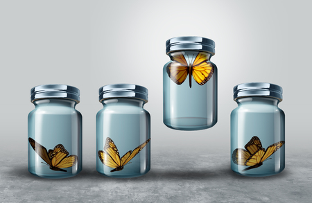Concept of leadership and powerful business visionary metaphor as a group of resting butterflies in a closed glass jar with one strong individual leader flying upward lifting the container as a 3D illustration. Imagens - 82731744