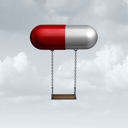 danger: Child medicine concept as a medical symbol for children medication as a prescription drug pill with a kid playground swing as a youth healthcare and behavior treatment and mood therapy for young patients icon as a 3D illustration.