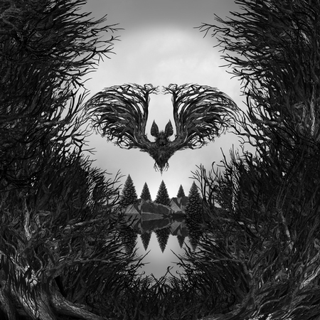 surrealistic: Scary Skull background as a surreal haunted forest with dead trees and mountain shaped as a possessed skeleton head with 3d illustration elements as a halloween or fear metaphor.