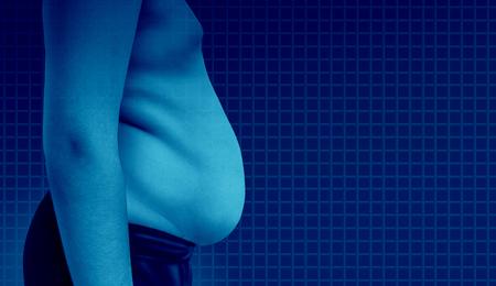 太りすぎの子供や不健康な栄養物および 3 D 図の要素を持つ高コレステロール食による肥満脂肪の子供として子供の医療健康概念の肥満。