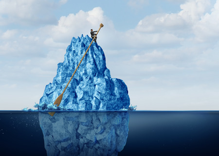 navigating: Managing business obstacles and controlling economic risk and challenges as a businessman on an iceberg with an oar navigating the danger away to prevent disaster or climate change idea with 3D illustration elements.