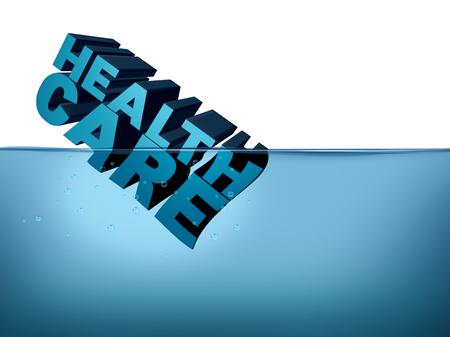 to drown: Concepto de crisis de seguro de salud o seguro de salud como un gobierno de Medicare o Medicaid legislación desafío y servicios de hospital símbolo de problemas para el acto de cuidado asequible con elementos de ilustración en 3D Foto de archivo