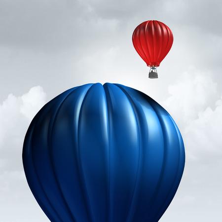 渡される遅い巨大な気球として中小企業の利点と経済の敏捷性と 3 D の図の要素を持つ新しい機会の準備ができているのため企業のメタファーとして