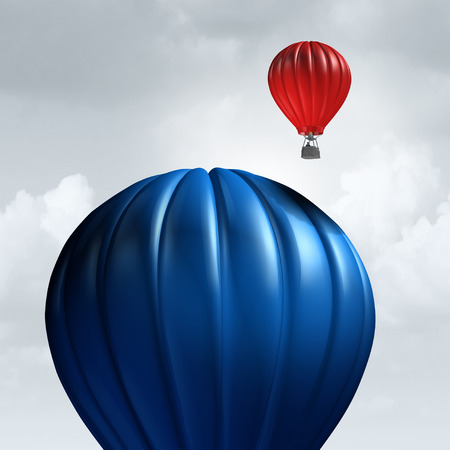 Small business advantage as a slow huge air balloon being passed and beat by a smaller individual as a corporate metaphor for economic agility and being ready for new opportunity with 3D illustration elements.
