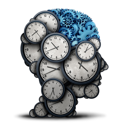 Thinking business time concept as a group of clock objects shaped as a human head  with gears and cog wheels as the inside brain as a corporate punctuality and appointment work metaphor or deadline strategy and overtime planning as a 3D illustration.