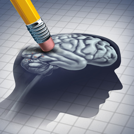 Dementia illness and disease as a loss of brain function and memories as alzheimers as a medical health care icon of neurology and mental problems with a pencil erasing the head anatomy with 3D illustration elements. Stock Photo
