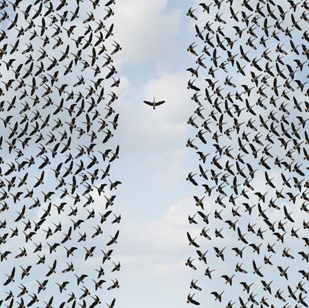 Concept individualisme en Individualiteitssymbool of onafhankelijk denkeridee en nieuw leidingsconcept of individuele moed als een groep vogels die met één individu in de tegenovergestelde richting vliegen als bedrijfspictogram in een 3D illustratiestijl.