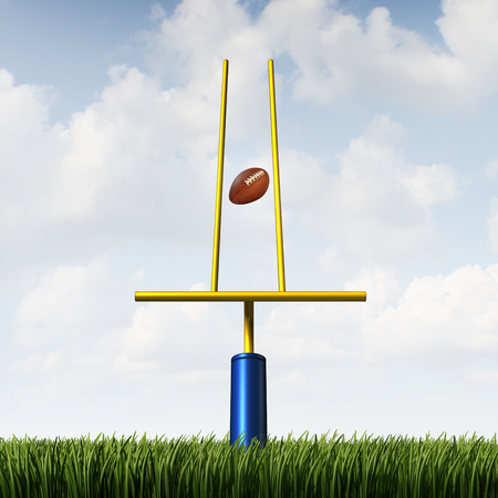 idea hurdle: Market success challenge and sport game match fixing concept as a football scoring through an unfair tight restrained goal post as a business or life metaphor for overcoming obstacles and unfairness with 3D illustration elements. Stock Photo