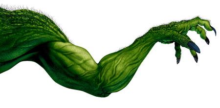 Il braccio del mostro isolato su un fondo bianco come elemento afferrante dello zombie con le unghie e muscoli appuntiti come Halloween terrificante o simbolo spaventoso con le dita corrugate pelle verde strutturata con gli elementi dell'illustrazione 3D.