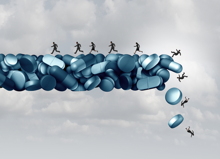 Opioid health risk and medical crisis with a prescription painkiller addiction epidemic concept as a group of people running away from a dangerous falling bridge of pills as a medicine addict problem with 3D illustration elements.