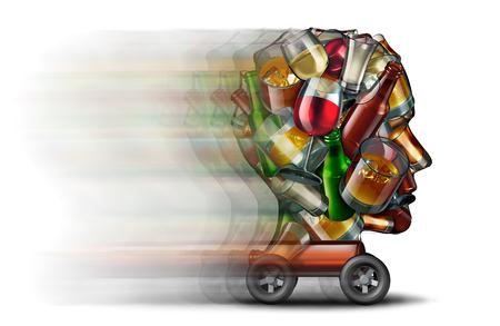 Drinken en rijgedrag en een bestuurder onder invloed van alcohol als verkeersveiligheidsgevaar en snelwegrisico als een groep flessen en glazen drankvormig gevormd als een menselijke hoofd die op wielen als 3D-afbeelding speelt.