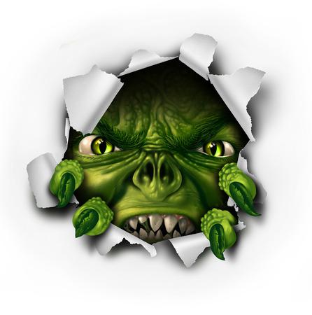 Monster skeurpapier met scherpe klauwen die uit het gescheurde gat springen als een eng gevaarlijke kwade zombie of duivelse schepsel met een bedreigende expressie als een Halloween-element met 3D-illustratie elementen. Stockfoto - 83546237