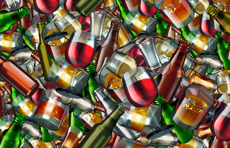 Alcohol drinks background as alcoholic beverages as beer wine scotch and whisky as a group of glasses and bottles representing leisure entertainment and party celebration or partying as a 3D illustration.