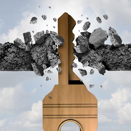 tecla enter: Concepto de avance clave y camino a la idea de oportunidad como una herramienta de metal para abrir y romper una pared como un icono de libertad de negocios con ilustración 3D.