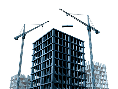 Economic development and commercial real estate business growth with building cranes and condominium buildings under construction as a 3D illustration.