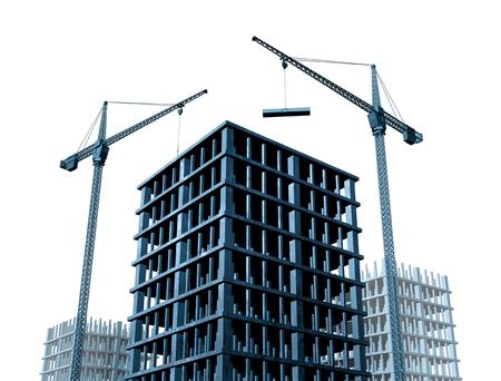 Wirtschaftliche Entwicklung und Gewerbeimmobilien Geschäftswachstum mit Baukränen und Eigentumswohnungen im Bau als 3D-Darstellung. Standard-Bild - 83546241