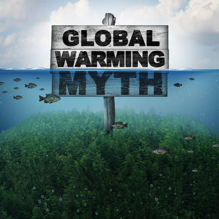 Global warming myth and climate change or extreme weather conditions concept and rising sea levels due to hot weather and melting of the polar ice caps as a mountain under water flooded with 3D illustration elements. Stock Photo