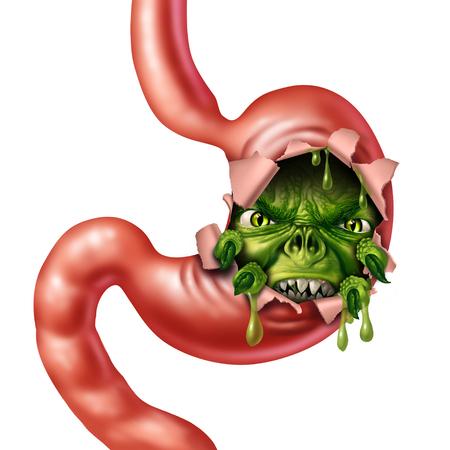Verstoorde maag en misselijkheid als een angstaanjagend spijsverteringsorgaan karakter als een medische metafoor voor indigestie en buikpijn met maagvloeistof of griep braken met 3D-illustratie-elementen.