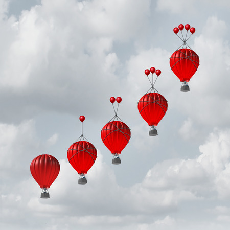 Competitive advantage increase concept as a group of rising hot air balloons with increasing amount of assistance to beat the competition as a business metaphor with 3D illustration elements. Stok Fotoğraf