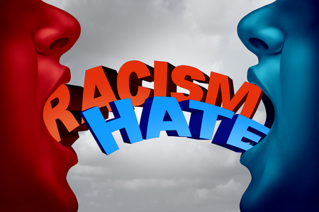 tribalism: Racism and hate social issue as two racist people in a hate filled argument with text as a society current affair metaphor and symbol for racist intolerance for ethnic minorities with 3D illustration elements.