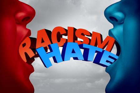 Racisme en haat sociale kwestie als twee racistische mensen in een haatdragende argument met tekst als een samenleving actuele affaire metafoor en symbool voor racistische intolerantie voor etnische minderheden met 3D-illustratie-elementen.