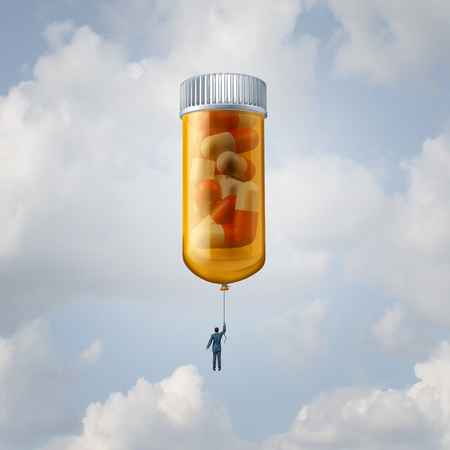 Medication and pharmacy concept as a pharmaceutical industry and biotechnology therapy idea as a patient or scientist floating high with a giant prescription pill bottle balloon as a medical research icon with 3D illustration elements.