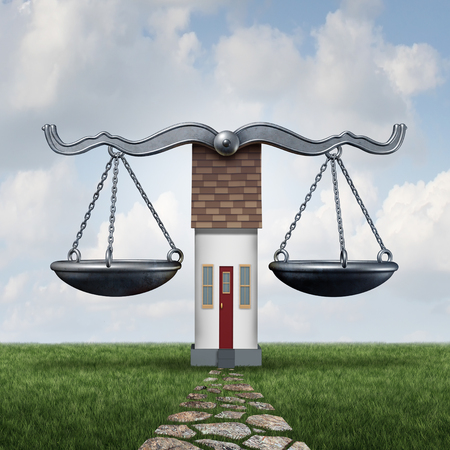 Home law and house laws legal housing concept as a justice scale with a residence as a construction and building code symbol with 3D illustration elements. Imagens