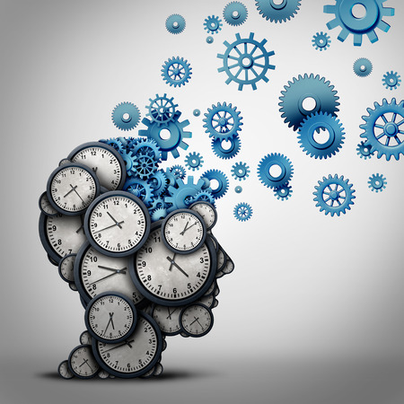 Business time planning thinking concept as a group of clock objects shaped as a human head with gears and cog wheels as the inside brain as a corporate punctuality work planner metaphor as a 3D illustration.
