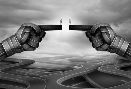 surrealistic: Business relationship meeting as a businessman and businesswoman connecting together as a group of roads shaped as human pointing hands with 3D illustration elements.