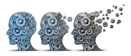 Alzheimer dementia brain disease as a memory loss and mental transforming neurology or mind mental health concept as a human head made of gears and machine cog wheels degrading and aging as a 3D illustration.