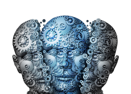 thinking machines: Artificial intelligence or ai virtual reality technology birth as a robotic human head breaking apart with a new intelligent robot inside as a 3D illustration. Stock Photo