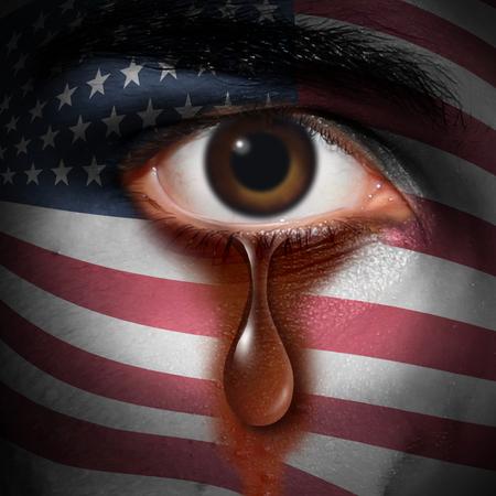 El racismo en América y el fanatismo en el concepto de los EEUU como la lágrima de una minoría americana que se lava una bandera de los Estados Unidos pintada en una cara como metáfora de los derechos civiles y de la discriminación en un estilo de la ilustración 3D. Foto de archivo - 84443859