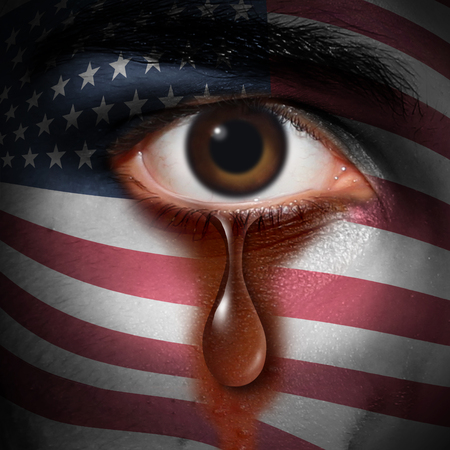 Racism in America and bigotry in the USA concept as the tear of an American minority washing away a flag of the United States painted on a face as a civil rights and discrimination metaphor in a 3D illustration style.