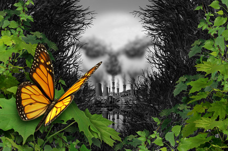 Environmental destruction and ecological natural habitat contamination as a butterfly looking at a polluted industrial area with coal chimneys and nuclear plants with toxic garbage with 3D illustration elements. Stock Photo