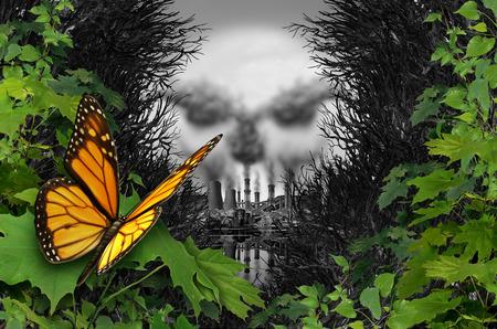 Umweltzerstörung und ökologische natürliche Lebensraumverunreinigung als Schmetterling, der ein verschmutztes Industriegebiet mit Kohlenschornsteinen und Atomkraftwerken mit giftigem Müll mit 3D-Zeichnungselementen betrachtet.