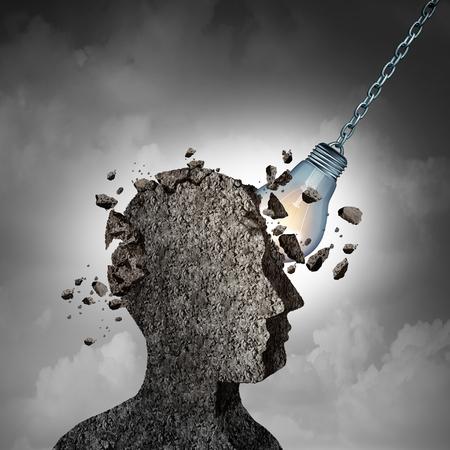 Concepto de Brainstorming y racking su idea de cerebros como una cabeza humana hecha de cemento o concreto que se demuele por una bombilla iluminada o una bombilla como una metáfora de pensamiento e inteligencia con elementos de ilustración 3D.