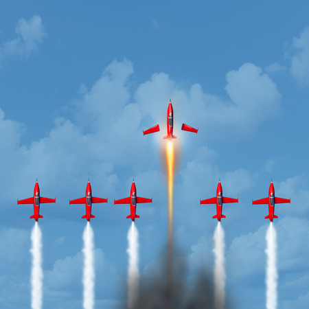 Business winner concept as a group of airplanes with air smoke trail with an individual plane transforming into a rocket blasting ahead of the competition as an up your game icon with 3D illustration elements. Stock fotó