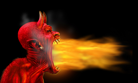 Satan flames on a black background as demon fire blaze as a creepy scary red horned satanic beast monster breathing out hot burning torch as a halloween or horror symbol with 3D illustration elements. Banco de Imagens