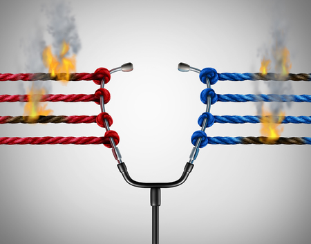 Health politics crisis and medical political legislation failure and medicine insurance reform challenges or universal healthcare system stress concept as a group of ropes on fire pulling on a doctor stethoscope with 3D illustration elements. Stock Photo