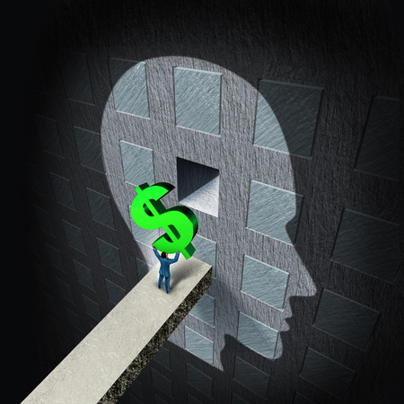 Psychology of money and financial thinking as an economic symbol of wealth management strategy and learning how to invest or economy and finance training as a businessman inserting currency in a head with 3D illustration elements.