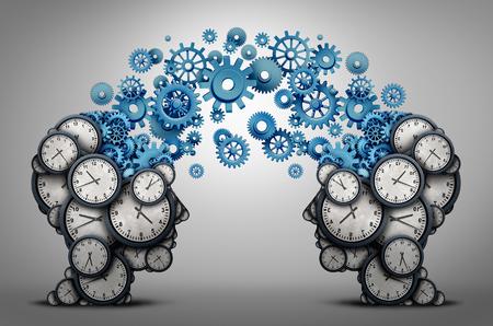 gente comunicandose: Negocios tiempo de planificación de la asociación como dos cabezas de las personas hechas de engranaje de reloj de engranajes y objetos vinculados como una organización de un símbolo de reunión y horario como una ilustración 3D.